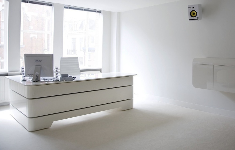 White Executive Desk With Drawers