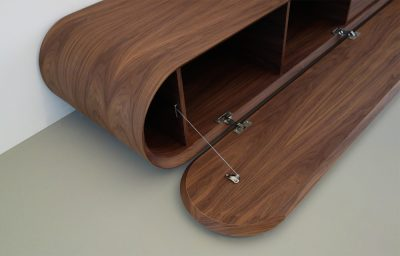 media console in walnut