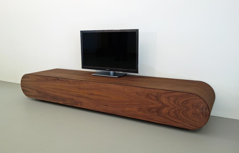 modern media console in walnut